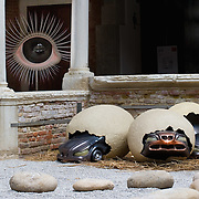 """VENICE, ITALY - JUNE 02:  """"Eggs"""" an installation by Zhao Guanghui  part of the  Future Pass exhibition on June 2, 2011 in Venice, Italy. The Venice Art Biennale will run from June 4 to November 27, 2011."""