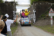 France, April 13th 2014: The Haribo marketing vehicle passes under Pont Gibus, Wallers, in advance of the Paris Roubaix 2014 race.