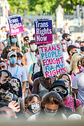 People some of them wearing face masks are marching to demand legal recognition for non-binary people in London on Saturday, Sept 12, 2020. This is the city's second-ever London Trans+ Pride, which demands an end to non-consensual surgeries on intersex people, and progressive reform of the UK's Gender Recognition Act – the law that governs the way adult trans men and women gain legal recognition of their gender. (VXP Photo/ Vudi Xhymshiti)