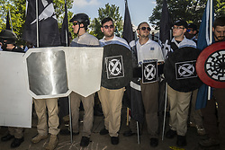 August 12, 2017 - Charlottesville, Virginia, United States - JAMES FIELDS, center, who is suspected of being the driver of the car which crashed into counter protesters in Chaelottesville, Virginia is pictured before the car crash. (Credit Image: © Go Nakamura via ZUMA Wire)