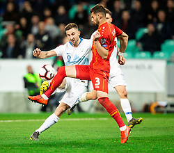 Andraž Šporar of Slovenia vs Egzon Bejtulai of Macedonia during football match between National teams of Slovenia and North Macedonia in Group G of UEFA Euro 2020 qualifications, on March 24, 2019 in SRC Stozice, Ljubljana, Slovenia. Photo by Vid Ponikvar / Sportida