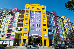 Colourful facade of apartment building in Berlin Germany
