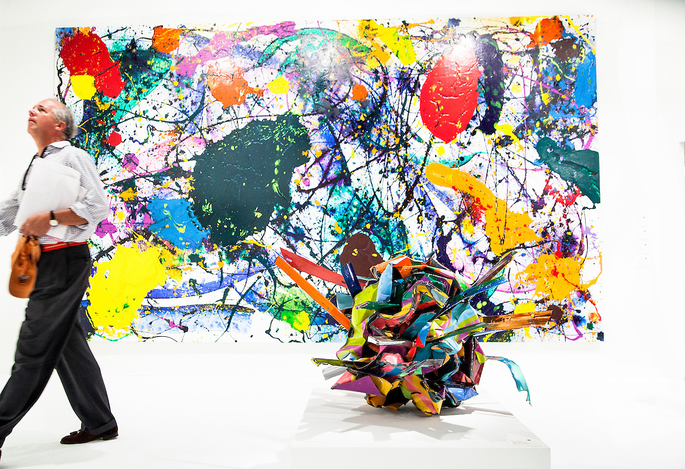"""Painting """"Untitled"""" by Sam Francis; and the painted chrome steel sculpture  """"Bamboozled Clarity"""" is by John Chamberlain"""