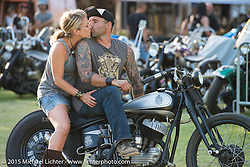 """Invited builder Kevin """"Teach"""" Bass"""" and his wife Amy on Teach's custom Harley-Davidson Flathead on Day one of the Born Free Vintage Chopper and Classic Motorcycle Show at the Oak Canyon Ranch in Silverado, CA. USA. Saturday, June 28, 2014.  Photography ©2014 Michael Lichter."""