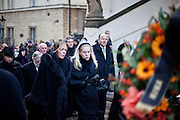 About 10000 Czech citizens accompanied the remains of Vaclav Havel from the Old Town part in Prague across Charles Bridge   up to Prague Castle, the seat of Czech presidents. In the middle Vaclav Havel's wife Dagmar Havlova and her daughter Nina following a car with Vaclav Havel's coffin during the mourning procession at Nerudova street.