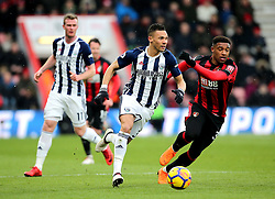 West Bromwich Albion's Kieran Gibbs (left) and AFC Bournemouth's Jordon Ibe (right) in action during the Premier League match at the Vitality Stadium, Bournemouth.