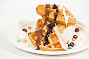 Waffle, Ice Cream, sweets, chocolate and Cream snack