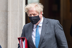 © Licensed to London News Pictures. 28/04/2021. London, UK. Prime Minister Boris Johnson leaves 10 Downing Street bound for the House of Commons to attend Prime Ministers Questions. Photo credit: Peter Manning/LNP