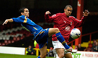 Photo: Ed Godden.<br />Bristol City v Doncaster Rovers. Coca Cola League 1. 28/10/2006. Bristol's Nick Wright (R) tries to get the ball from Brian Stock (L).