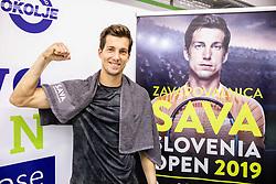 Aljaz Bedene of Slovenia celebrates after winning Singles in Quarter - Final of ATP Challenger Zavarovalnica Sava Slovenia Open 2019, day 8, on August 16, 2019 in Sports centre, Portoroz/Portorose, Slovenia. Photo by Vid Ponikvar / Sportida