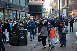 © Licensed to London News Pictures. 05/12/2020. Manchester, UK. Busy Market Street in Manchester as people try to fit in Christmas shopping. Non-essential retail is open in Manchester which is in Tier 3 restrictions. Photo credit: Kerry Elsworth/LNP