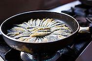 Hamsi tava, or anchovies dipped in corn flour and fried, at Emre Balikcilik, Giresun