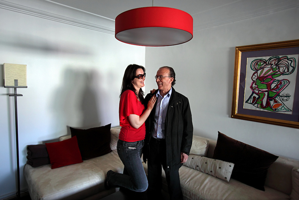 Portrait of Moroccan television personality Nadia Larguet, 36, and film industry leader Nour-Eddine Sail, 61, in their home in Casablanca, Morocco on May 10, 2009. The couple received many threats from Islamists when it became known that they were co-habitating while unmarried.