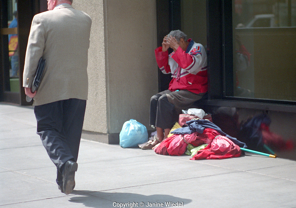 Homeless person in New York City.