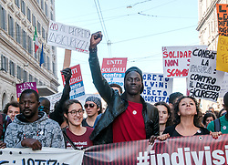 November 10, 2018 - Rome, Italy, Italy - National demonstration in Rome organized by the #indivisible network against the government, against the government, rampant racism and the ''Security Decree'' - which provides for tightening immigration policy - presented by the League leader and deputy prime minister Matteo Salvini and approved by the Senate beginning of this week. (Credit Image: © Patrizia Cortellessa/Pacific Press via ZUMA Wire)