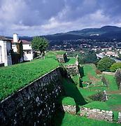 View across River Minho to Spain from fortress town of Valença do Minho, Portugal