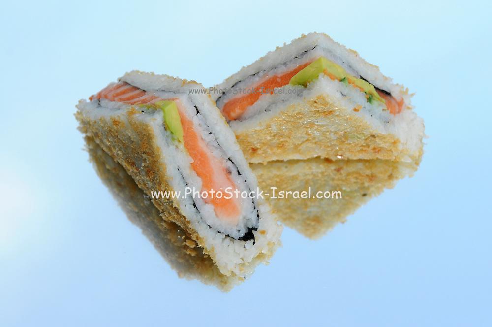 Sushi sandwich on reflective background