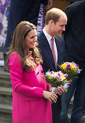 © London News Pictures. 27/03/2015. Prince William and a heavily pregnant Catherine, Duchess of Cambridge arriving for a visit at youth charity XLP (The eXceL Project) at Christ Church in Gipsy Hill, south London on March 27, 2015. Photo credit: Ben Cawthra/LNP