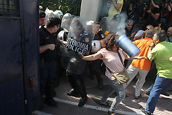 October 3, 2016 - Athens, Greece - Elderly people clash with riot police during anti-austerity protest against pension cuts in central Athens near the prime minister's office. (Credit Image: © Aristidis Vafeiadakis via ZUMA Wire)