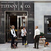 A trio of ladies with their dogs in costumes outside the Trifany and Co store on Rodeo Drive in Beverly Hills, CA.