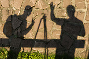 Hiker's shadows, afternoon light, October, Dolomite Mountains, South Tyrol, Italy