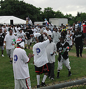 Sean Puffy Combs & Damon Dash.Bad Boy vs. Rocafella Baseball Game.To benefit disadvantaged kids.Stony Park.Easthampton, NY.July 4th, 2001.Photo by Celebrityvibe.com..