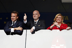 (l-r) France's President Emmanuel Macron, FIFA President Gianni Infantino, Croatia's President Kolinda Grabar-Kitarovic during the 2018 FIFA World Cup Russia Final match between France and Croatia at the Luzhniki Stadium on July 15, 2018 in Moscow, Russia