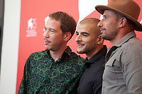 Actors Reda Kateb, Sofiane Zermani and Matthias Schoenaerts at the photocall for the film Freres Ennemis (Close Enemies) at the 75th Venice Film Festival, on Saturday 1st September 2018, Venice Lido, Italy.