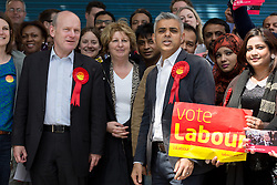 © Licensed to London News Pictures. 30/05/2015. London, UK. Sadiq Khan joins John Biggs and Labour Party activists in Stepney, Tower Hamlets in east London to support canvassing for John Biggs to become Tower Hamlets Mayor. The Tower Hamlets Mayoral election will be re-run on 11th June after a High Court election petition found the previously elected mayor, Lutfur Rahman guilty of corrupt and illegal practices. Photo credit : Vickie Flores/LNP