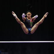Gymnast Erin Macadaeg in action during a final training session before the start of The 2013 P&G Gymnastics Championships, USA Gymnastics' national championships which runs from Thursday until Sunday at the XL, Centre, Hartford, Connecticut.<br /> The event features gymnasts in both the junior and senior divisions. Performances will determine all-around and individual event national champions, as well as the national team for the junior and senior elite levels. Hartford, Connecticut, USA. 14th August 2013. Photo Tim Clayton