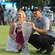 Hunter Mahan, winner of The Barclays with his wife Kandi and daughter Zoe at theThe Barclays Golf Tournament at The Ridgewood Country Club, Paramus, New Jersey, USA. 24th August 2014. Photo Tim Clayton