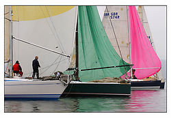 The first mornings racing at the Bell Lawrie Yachting Series in Tarbert Loch Fyne .Damp and light conditions made the conditions challenging for the competitors...Class one drift to a standstill..
