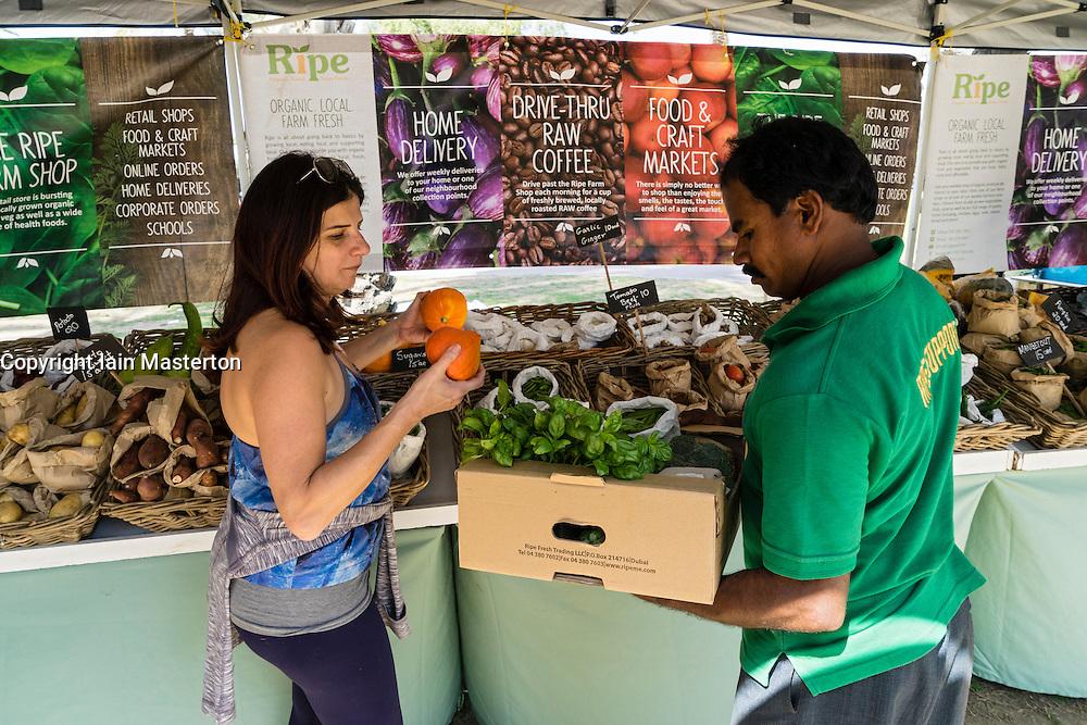 Weekend organic food market in Al Safa Park in Dubai United Arab Emirates
