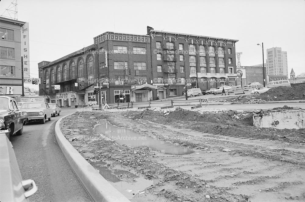 "Y-670203B-19.  ""Intersection of west Burnside & 14th for traffic court. February 3, 1967"" Crystal Ballroom, I-405 Stadium Freeway construction. Portland, Oregon."