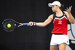 January 10, 2019 - Sydney, NSW, U.S. - SYDNEY, AUSTRALIA - JANUARY 10: Ashleigh Barty (AUS) hits a forehand at The Sydney International Tennis in the game between Ashleigh Barty (AUS) and Elise Mertens (BEL) on January 10, 2018, at Sydney Olympic Park Tennis Centre in Homebush, Australia. (Photo by Speed Media/Icon Sportswire) (Credit Image: © Steven Markham/Icon SMI via ZUMA Press)