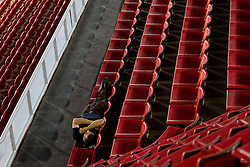 Worker sleeps in Abdi Ipekci Arena - Abdi Ipekci Spor Salonu na Ulasim two days prior to the 2010 FIBA Basketball World Championship, on August 26, 2010, in Istanbul,Turkey. (Photo by Vid Ponikvar / Sportida)