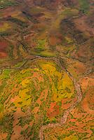 Aerial views of mountainous region around Lalibela, Ethiopia.
