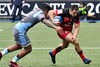 Rugby Union - 2018 / 2019 European Rugby Champions Cup - Pool Three: Cardiff Blues vs. Lyon<br /> <br /> Jeremie Maurouard, of Lyon & Rey Lee-Lo, of Cardiff Blues: , at Cardiff Arms Park.<br /> <br /> COLORSPORT/WINSTON BYNORTH