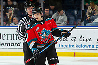KELOWNA, BC - NOVEMBER 8: Lineman Cody Wanner directs Pavel Novak #11 of the Kelowna Rockets to the bench during second period at Prospera Place on November 8, 2019 in Kelowna, Canada. (Photo by Marissa Baecker/Shoot the Breeze)