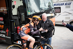 Amy Pieters (NED) of Boels-Dolmans Cycling Team signs an autograph before the AG Driedaagse Brugge-De Panne - a 134.4 km road race, between Brugge and De Panne on April 21, 2018, in West Flanders, Belgium. (Photo by Balint Hamvas/Velofocus.com)