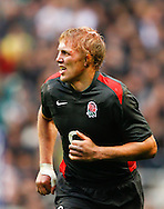 Lewis Moody of England looks on with blood from a head injury in his hair during the Investec series international between England and Australia at Twickenham, London, on Saturday 13th November 2010. (Photo by Andrew Tobin/SLIK images)