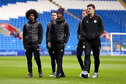 Leicester City's (left-right) Hamza Choudhury, Ben Chilwell, Demarai Gray and Harry Maguire inspect the pitch before the match