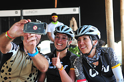 ROBERTSON, SOUTH AFRICA - MARCH 20: Anna Garcia and Sandra Coronilla from LIV Trail Squad pose for a selfie at the finish of stage two's 110km from Robertson on March 20, 2018 in Cape Town, South Africa. Mountain bikers from across South Africa and internationally gather to compete in the 2018 ABSA Cape Epic, racing 8 days and 658km across the Western Cape with an accumulated 13 530m of climbing ascent, often referred to as the 'untamed race' the Cape Epic is said to be the toughest mountain bike event in the world. (Photo by Dino Lloyd)