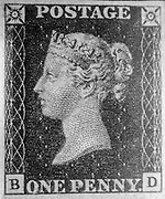 """Unused single """"Penny Black"""" postage stamp of Queen Victoria issued May 6, 1840 After a design by William Wyon"""