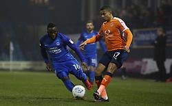 Junior Morias of Peterborough United closes down Frankie Musonda of Luton Town - Mandatory by-line: Joe Dent/JMP - 09/01/2018 - FOOTBALL - Kenilworth Road - Luton, England - Luton Town v Peterborough United - Checkatrade Trophy