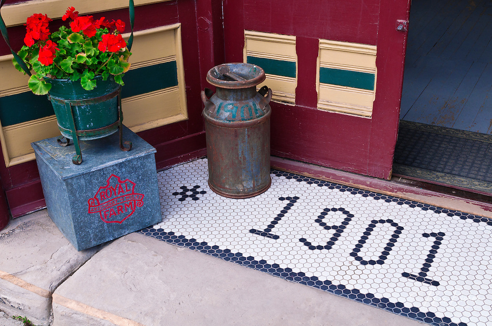 Milk pail and store entrance in the downtown historic district, Silverton, Colorado
