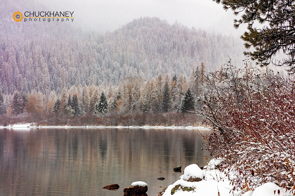 Snowy autumn day on Tally Lake in the Flathead National Forest, Montana, USA