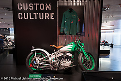 1942 WLA bobber similar to a Boozefighters outlaw bike that would have been seen at the Hollister Rally in 1947. On display at the Harley-Davidson Museum during the Milwaukee Rally. Milwaukee, WI, USA. Saturday, September 3, 2016. Photography ©2016 Michael Lichter.