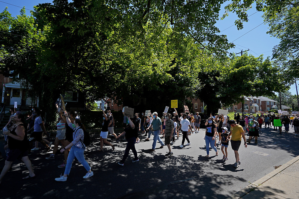 Hundreds of community members turned out June 14, 2020, for a peace march in support of Black Lives Matter in Emmaus, Pennsylvania. (Photo by Matt Smith)