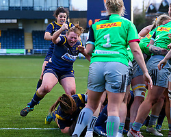 Caryl Thomas of Worcester Warriors Women celebrates a try by Sioned Harries - Mandatory by-line: Nick Browning/JMP - 20/12/2020 - RUGBY - Sixways Stadium - Worcester, England - Worcester Warriors Women v Harlequins Women - Allianz Premier 15s